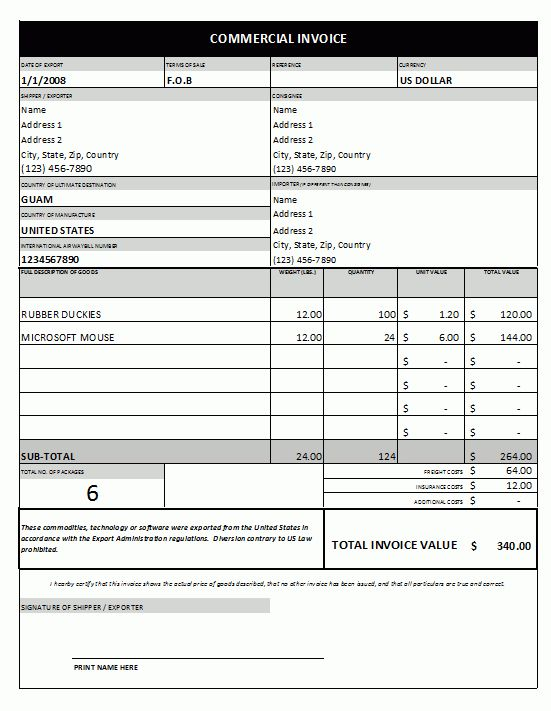 Commercial Invoice Template #1