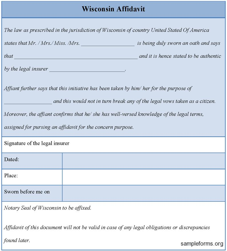 Epic Wisconsin Affidavit Form Template Featuring Date and Place ...