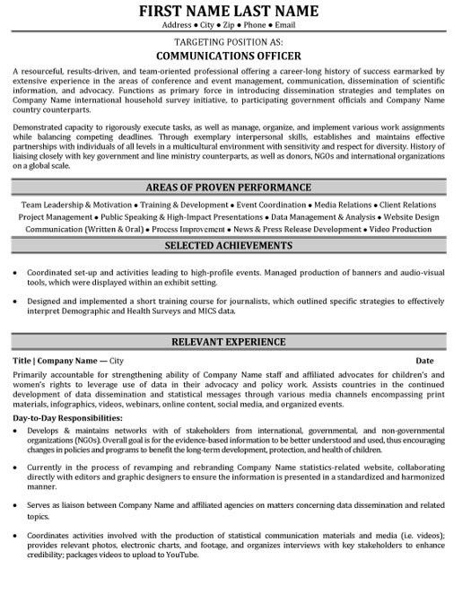 communications resume template officer resume sample template ...
