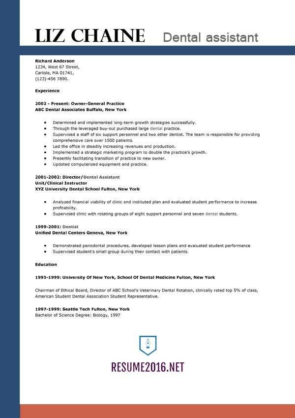 Dental assistant resume template 2016 - Get the job!