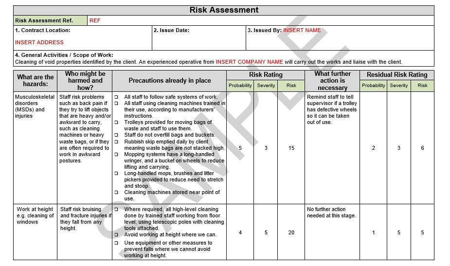Risk Assessment & Method Statement For Trench Excavation