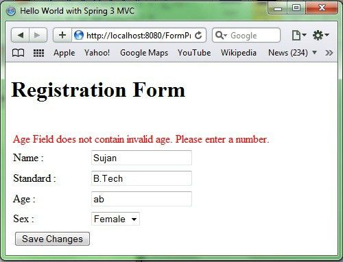 Form Processing in Spring MVC 3, Form Example in spring mvc,spring ...