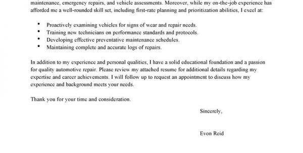 Cover Letter For Automotive Technician Apprenticeship Automotive ...