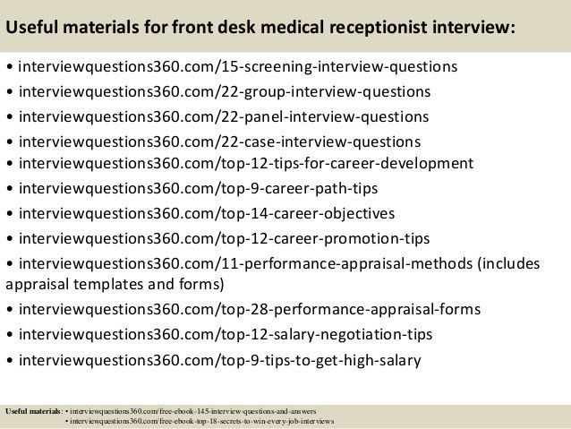 Top 10 front desk medical receptionist interview questions and answers