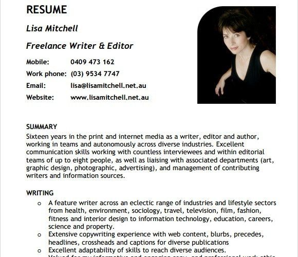 10+ Writer Resume Templates - Free PDF, Word, Samples