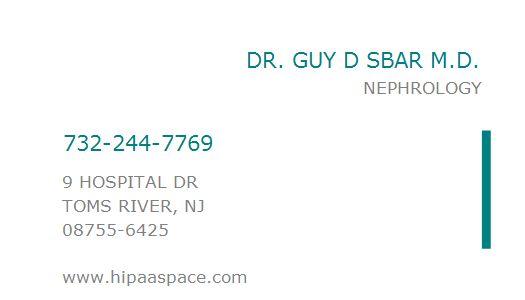 1861447104 NPI Number | DR. GUY D SBAR M.D. | TOMS RIVER, NJ