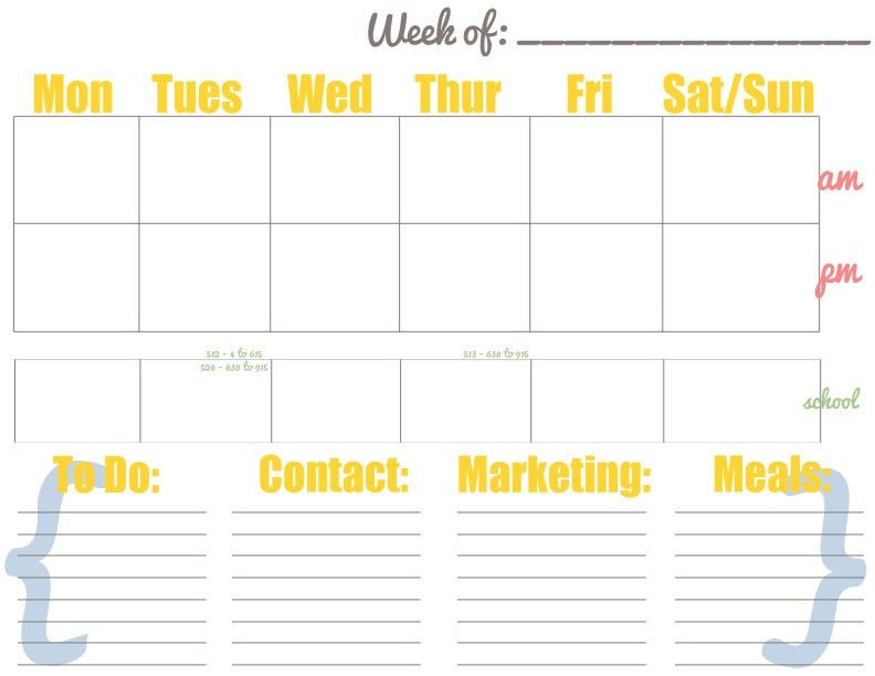 Free Weekly Calendar - PDF and PSD free to download/customize ...