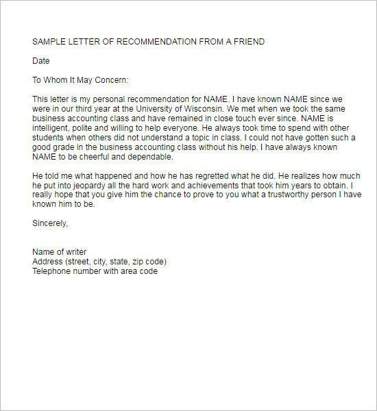 Recommendation Letter Template - Free Word, PDF Format | Creative ...