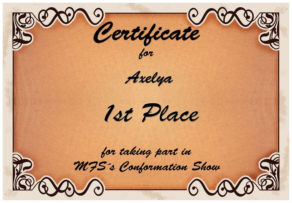 Certificate 1st Place Axelya by MoonyArsaraidh on DeviantArt