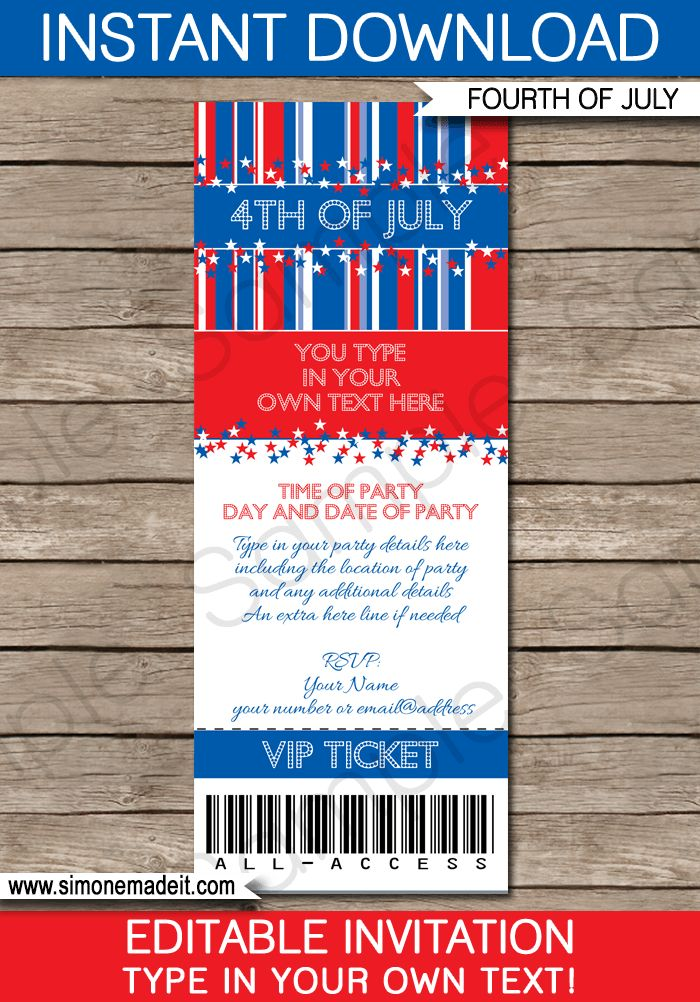 4th of July Party Ticket Invitations Template | Fourth of July