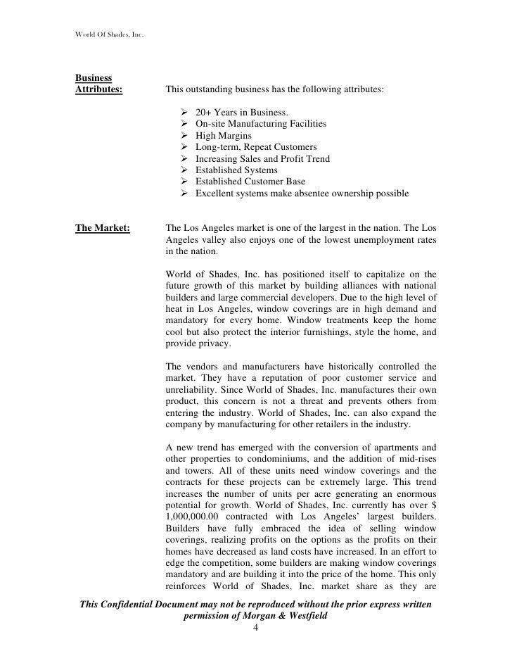 Morgan & Westfield Sample Selling Memorandum