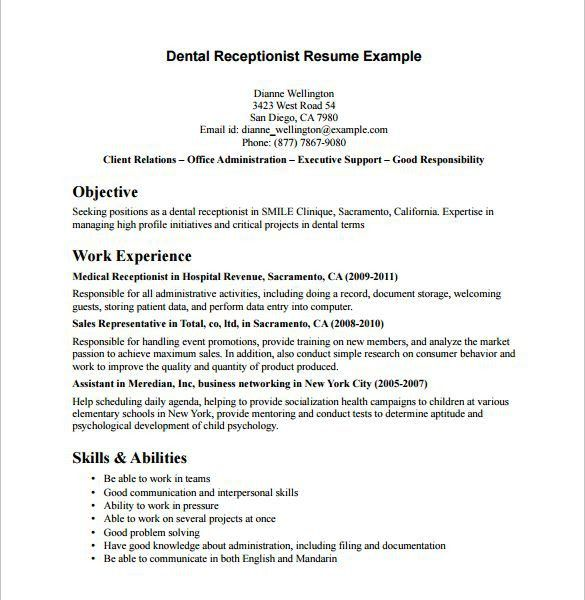 sample cv for receptionist