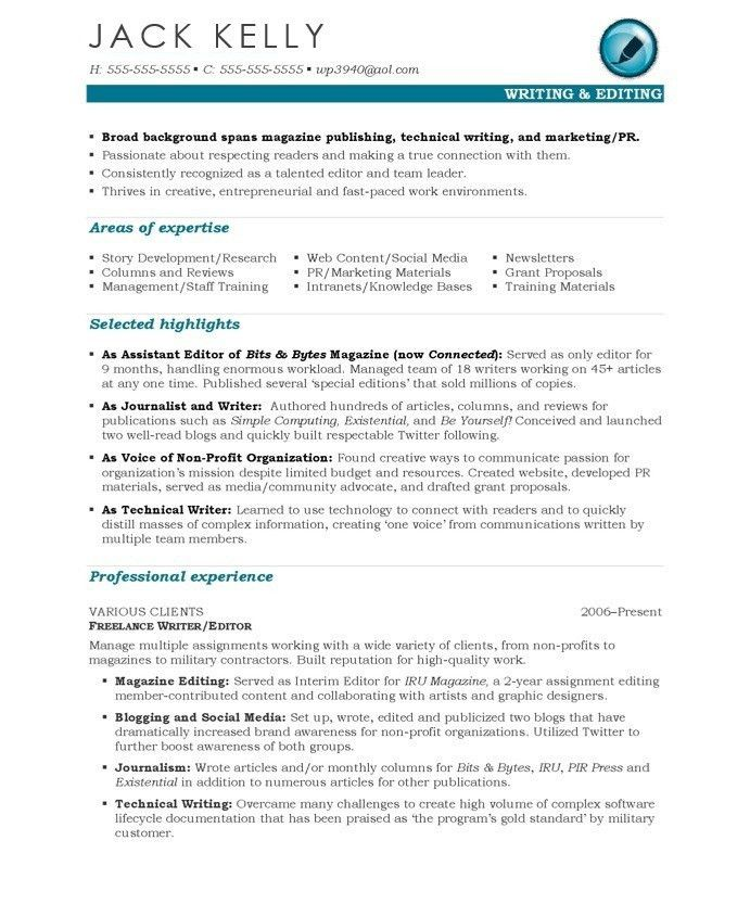 Writer Resume Samples & Examples