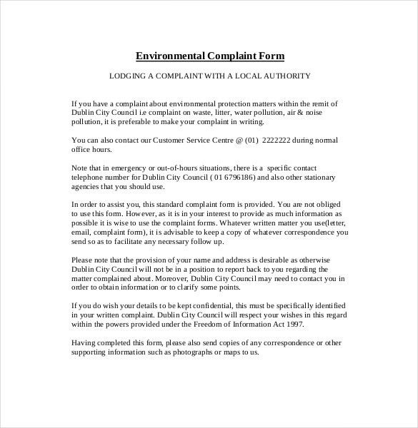 12+ Environment Complaint Letter Templates – Free Sample, Example ...