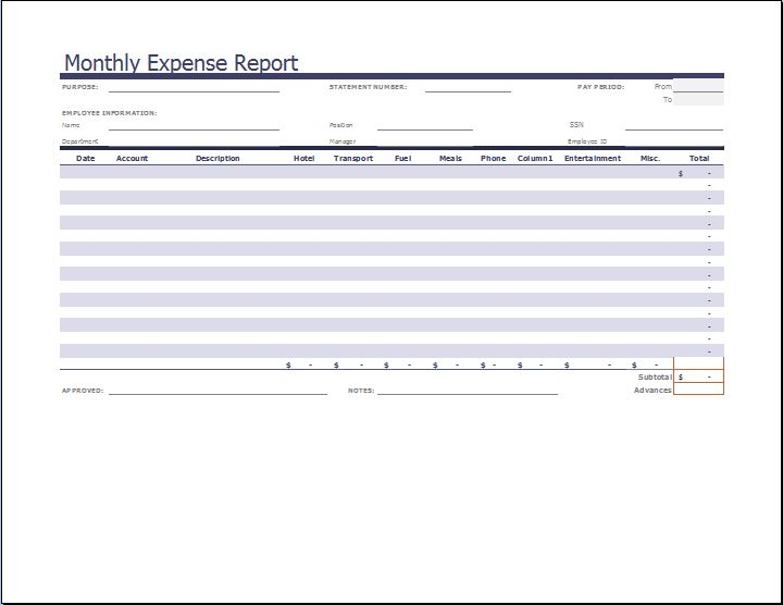 MS Excel Monthly Expense Report Template | Word & Excel Templates