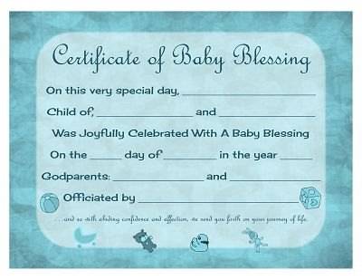 Certificate of Baby Blessing - Free Printable Template | Prayers ...