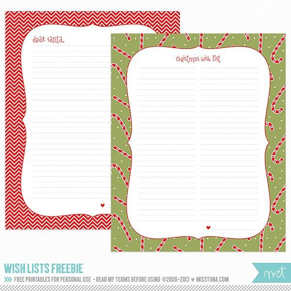 FREE Printables - Christmas Wish Lists | MissTiina.com {Blog ...