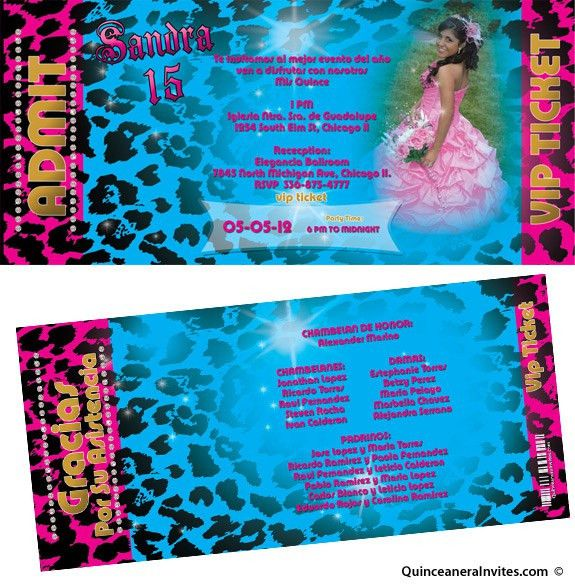 Leopard Vip Pass Quinceanera Invitations
