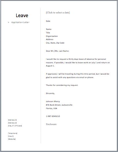 Leave Application Letter – Free Sample Letters