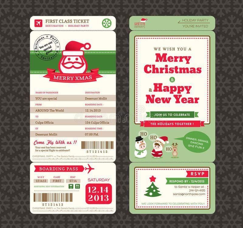 Christmas Card Design Boarding Pass Ticket Template Stock Vector ...