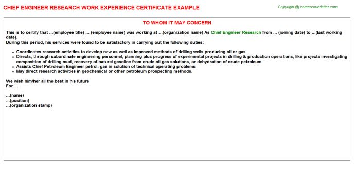 Chief Engineer Research Work Experience Certificate