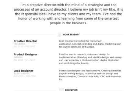 Creative Director Resume Examples - Reentrycorps