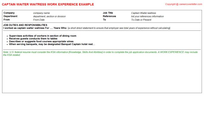 Captain Waiter Waitress Job Title Docs