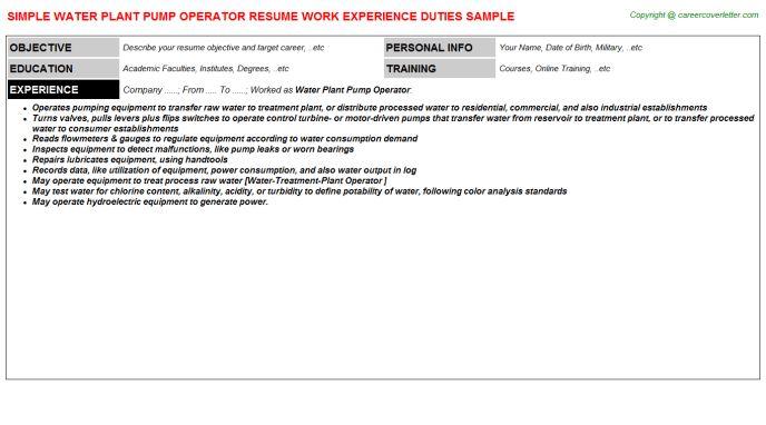 Water Plant Pump Operator Resume Sample