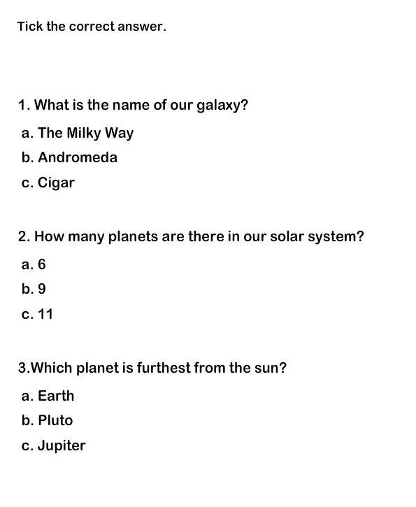 Solar System Worksheet 7 | Free Printable Quiz for Kids