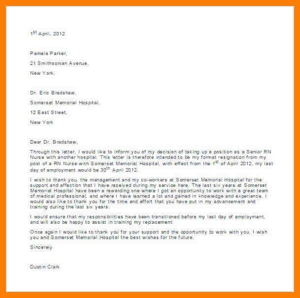 5+ free sample of resignation letter for nurses | joblettered
