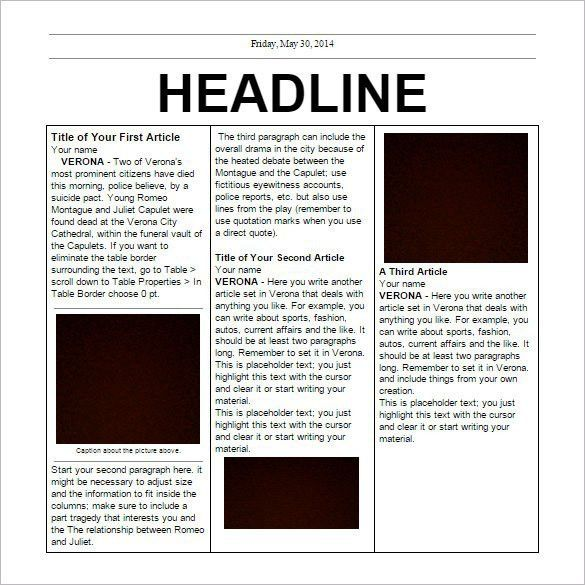 Newspaper Template Free | Best Template Examples