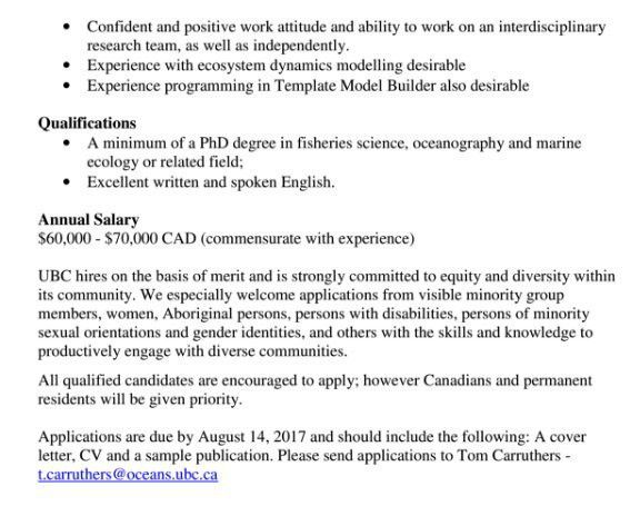 """Trevor A. Branch on Twitter: """"Postdoc on data-limited fisheries ..."""
