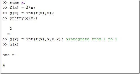 Symbolic Integration and Differentiation using MATLAB « Thilina's Blog