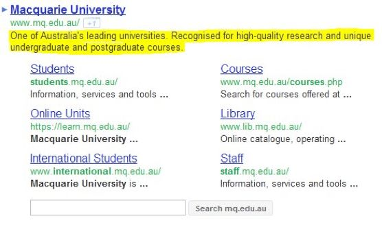 A Meta Description Example | Education Marketing | Google ...