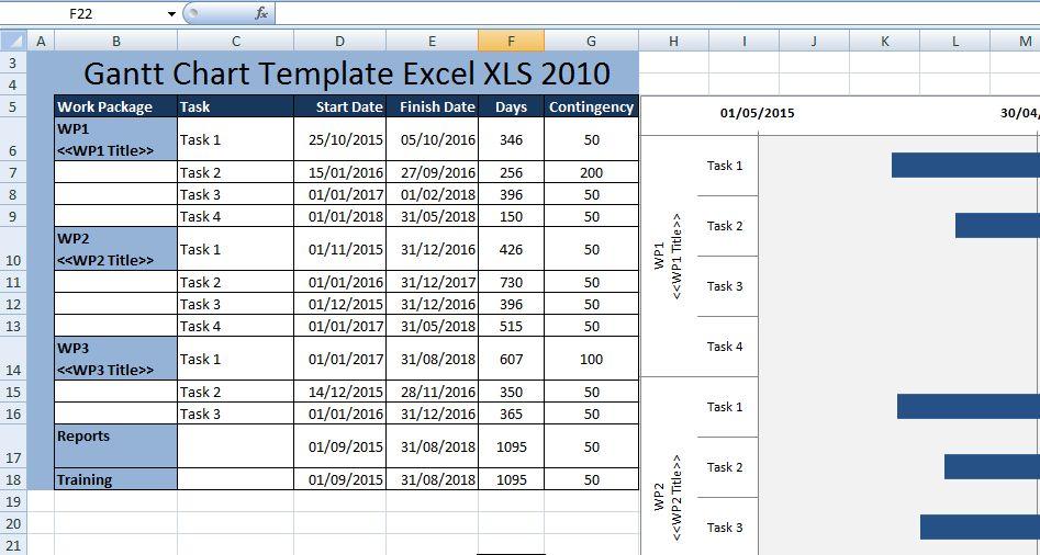 Creating Gantt Chart Template Excel XLS 2010 - Excel XLS Templates