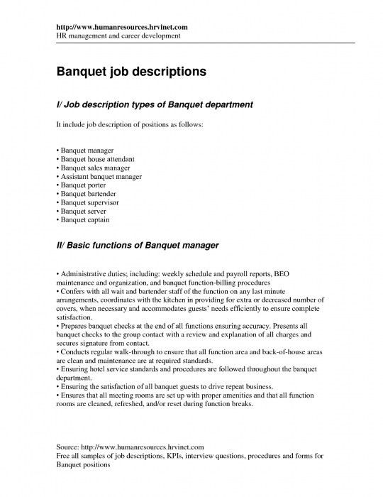 beaufiful server job description images gallery server job