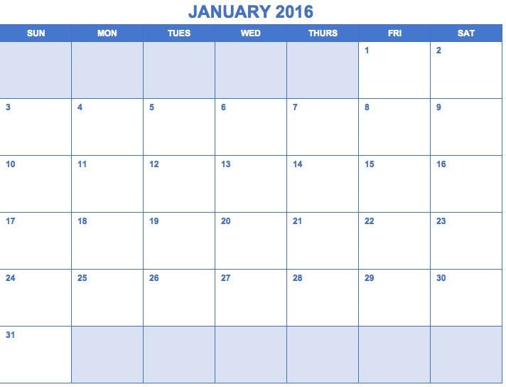 Fillable Calendar Templates 2017 Excel | Blank Calendar Design 2017
