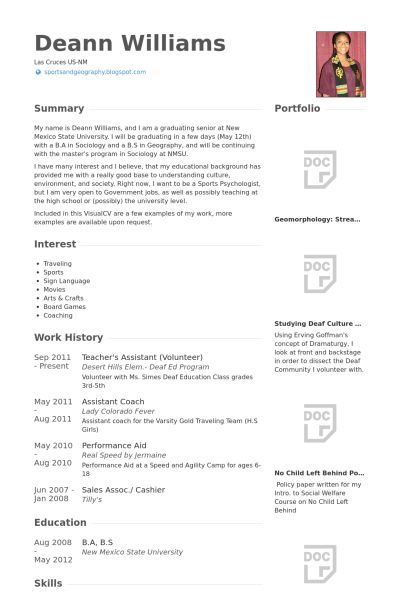 Teacher's Assistant Resume samples - VisualCV resume samples database
