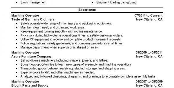 Machine Operator Resume Format Machine Operator Resume Resume ...