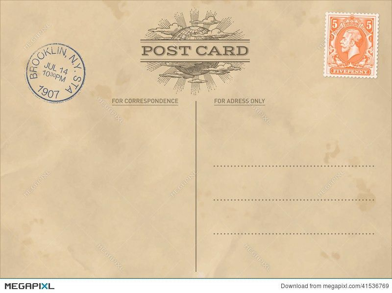 Vector Vintage Postcard Template Illustration 41536769 - Megapixl