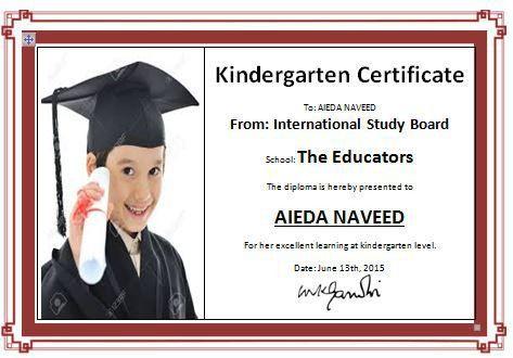 Kindergarten Diploma Certificate Template | Formal Word Templates
