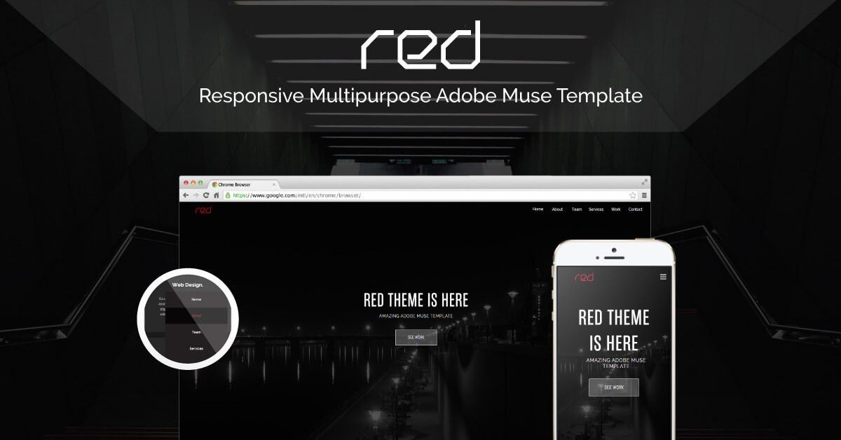 Check out Red, New Amazing Responsive Adobe Muse Theme is here!