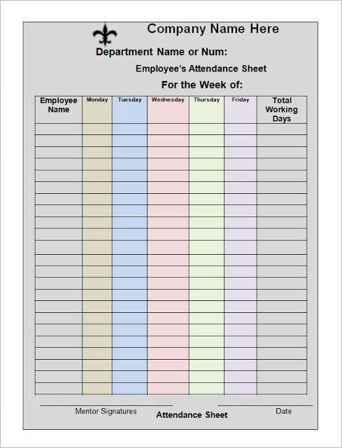 Employee Attendance Calendar, 2017 Attendance Calendar, Attendance ...