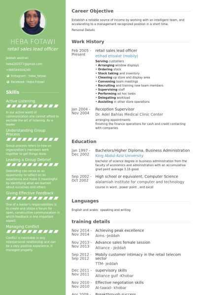 Sales Lead Resume samples - VisualCV resume samples database