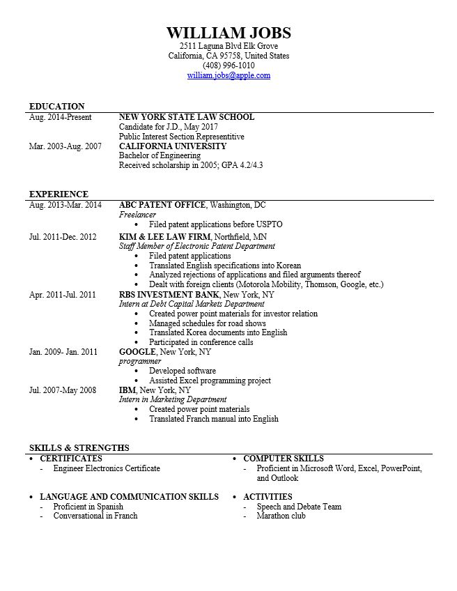 15 useful materials for law how to write a curriculum vitae for - Legal Resume Examples 2