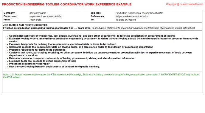 Precast Production Engineer CV Work Experience Samples