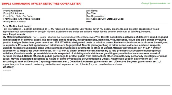 Commanding Officer Detectives Job Title Docs