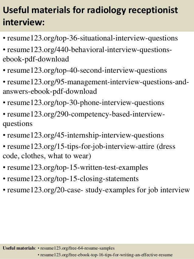 Top 8 radiology receptionist resume samples
