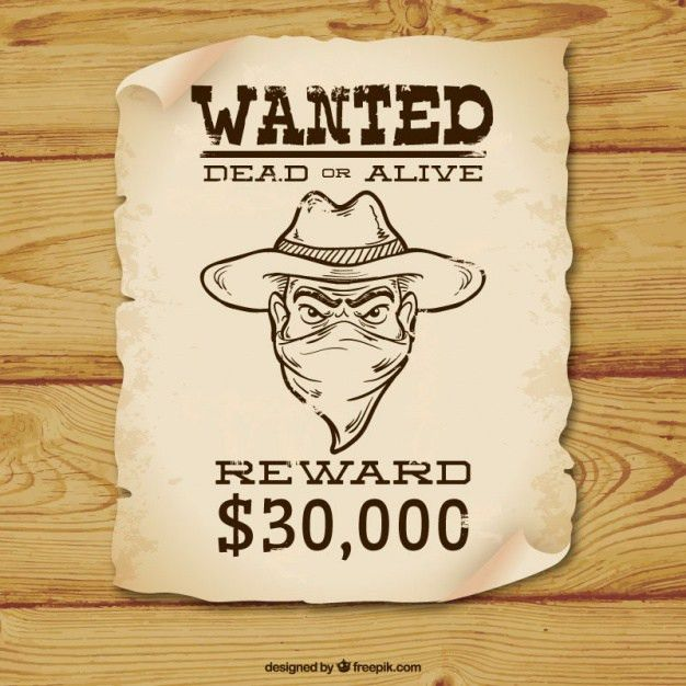 Wanted poster with hat and pistols Vector | Free Download