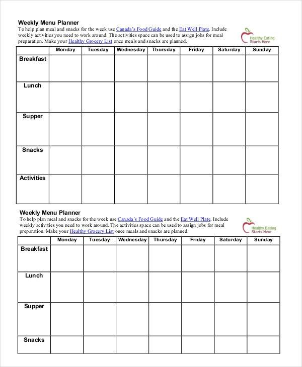 Printable Menu Planning Template - 9+ Free Word, PDF Documents ...
